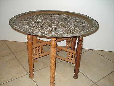 "Vintage 27"" Egyptian Copper/brass Tray Side Table With Wood Collapsible Frame"