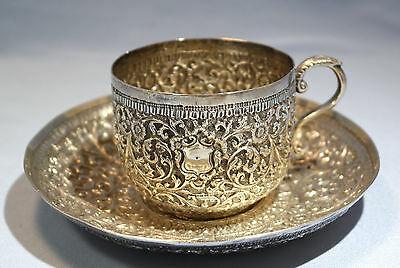 South East Asia Sterling Silver Repousse Cup & Saucer Early 20th Century