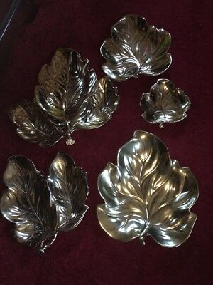 5 Graduated Gold Lustre Carlton Ware Leaf Dishes