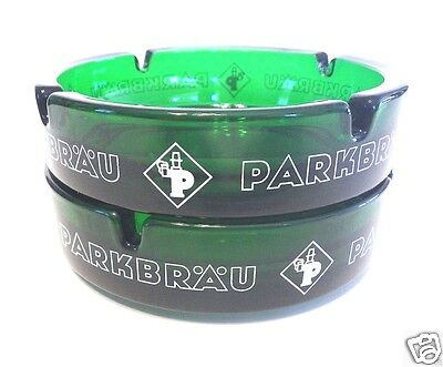 Set/2 Never Used Perfect German PARKBRAU BEER Emerald Green Glass Ashtrays