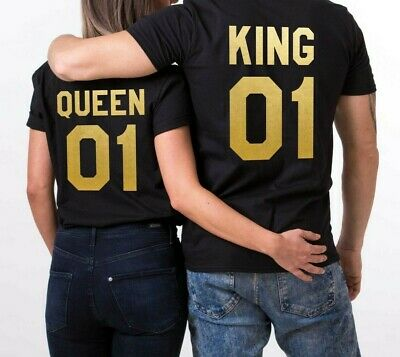 King and Queen Prince Princess Couple matching Cute T-shirt Two Sides Blue Print