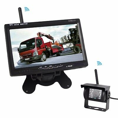 "Wireless 7"" Reversing Monitor+Rear View Back Up Camera Kit For Truck Trailer Bus"