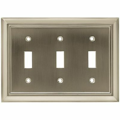 Architectural Brushed Satin Nickel Triple Toggle Switch Plate Brainerd Metal NEW