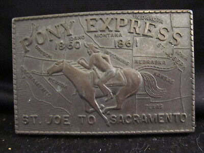 Brass 3-D Pony Express Western Belt Buckle St Joe to Sacramento