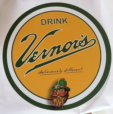 "Vernor's Ginger Ale 24"" Diameter Metal Sign"