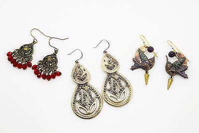 Lot of 3 Pair Beautiful Pieced Earrings Hummingbirds, Marcasite, Red Dangle
