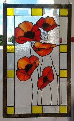 "Stained Glass Window Panel Suncatcher / ""Red Flowers with Bevels"""