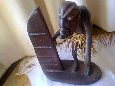 Vintage Wooden Tribal Art Figure with Board