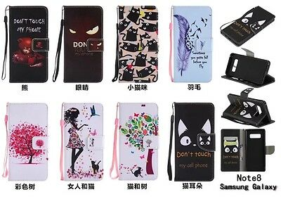 10pcs/lot Tree Animal Stand PU Leather Wallet Case for Samsung Galaxy Note 8