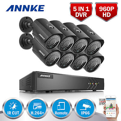 ANNKE 8x 960P 2500TVL Metal Camera 8CH 1080N 5IN1 DVR H.264+ TVI Security System