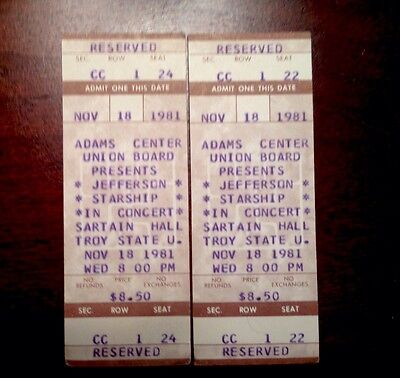 Two unused 1981 Jefferson Starship Tickets