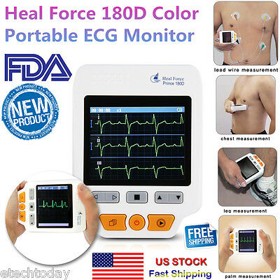 Portable 180D ECG Monitor Heal Force Color +Lead Cables And 50pcs ECG Electrodes