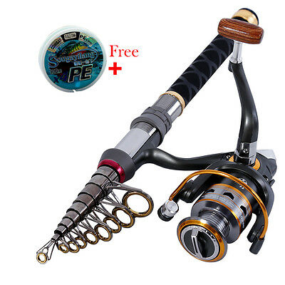 Sougayilang Spinning Telescopic Mini Fishing Rod and reel with Free Fishing Line