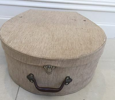 Vintage Hat Box/suitcase Fabric Covered With Chrome Fittings And Deco Interior