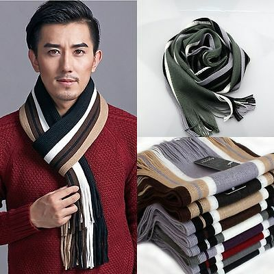 Mens Classic Striped Wool Shawl Winter Warmer Long Fringe Tassel Neck Scarf Wrap