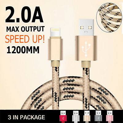 3 X USB Data Charging Cable Charger cord for Apple iPhone 8 7 6 S 5 iPad