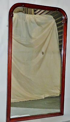HARD TO FIND Large ANTIQUE MID-VICTORIAN wall MIRROR ready 2 hang MAHOGANY?c1860