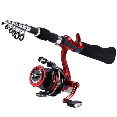 Spinning Fishing Rod with BD2000 Reel Set Red Travel Carbon Fishing Rod Combo