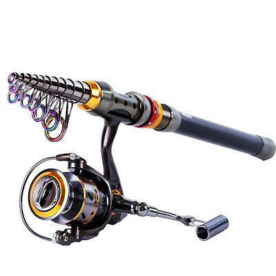 Telescopic Spinning Fishing Rod and Reel Gear Tackle Saltwater Freshwater Rods