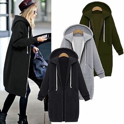 UK Womens Hoodies Coat Autumn Winter Zip Up Casual Plus size S-5XL Hooded Jacket