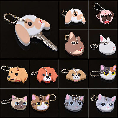 Silicone Key Ring Cap Head Cover Cute Animals Shape Key Case Shell Keychain
