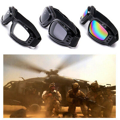 UK Padded Motorcycle Sunglasses Biker Safety Glasses Ski Goggles Mirror Anti-Fog