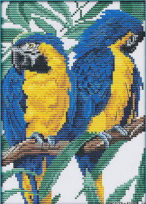 Blue & Yellow Parrots 14CT counted cross stitch kit, 27cm x 21cm fabric. CSK0035