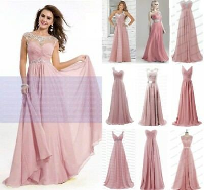 New Long Lace Chiffon Wedding Party Bridesmaid Dress Evening Prom Ball Gown 6-18