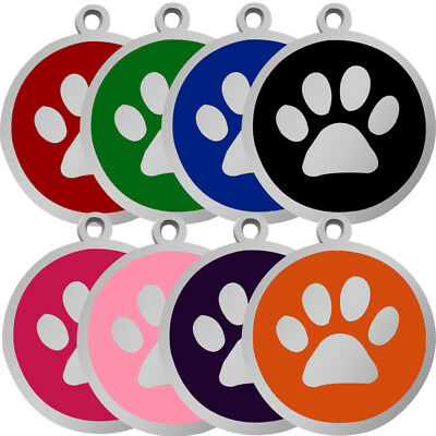 8/16/32pcs Round Paw Print Dog Tags Engraved Pet Cat Puppy Name ID Tag Wholesale
