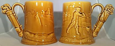 Pair of Antique Golf Beer Mugs