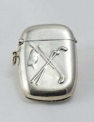 Silverplated men's vesta case (golf design)