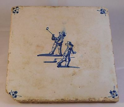Delft Tiles (2) depicting Colf (very rare)