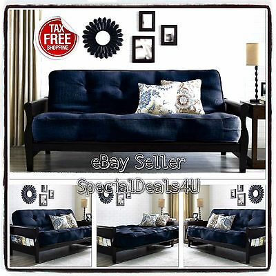CONVERTIBLE FUTON SOFA Bed Couch Full Size Mattress Living Room ...
