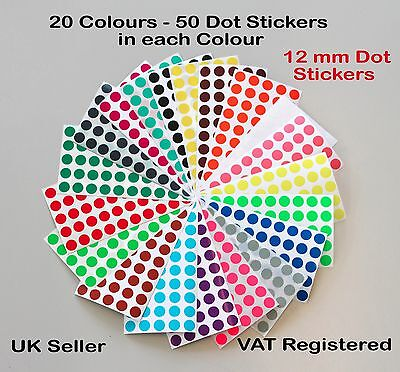 Pack of 1000 -12mm Dot Circular Coloured Dot Stickers - 20 Colours Premium Pack