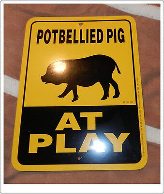 """9""""x12"""" Yellow PotBelly Pig Sign - Metal - New never displayed!"""