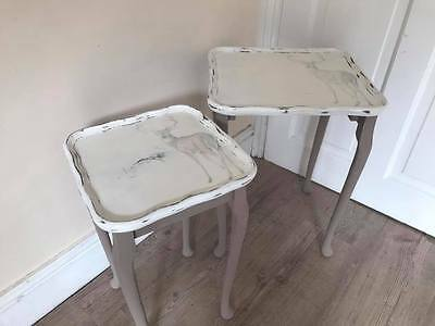 Shabby Vintage Chic fluted edge rustic deers design nest of 2 tables