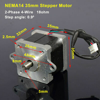 0.9 Degree NEMA 14 35MM Stepper Motor Shaft for 5mm CNC Prusa Rostock 3D Printer