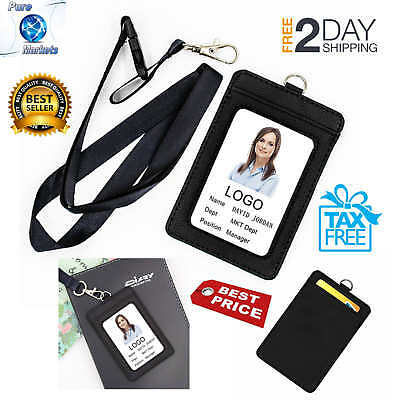 Lanyard Strap ID Holder Badge Neck Leather Pass Credit Card Business Wallet