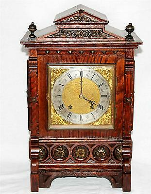 Stunning ANTIQUE OAK&BRASS LENZKIRCH TING TANG 2 GONG CHIME BRACKET CLOCK