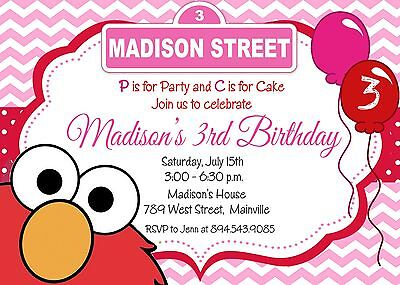 Elmo, Pink, Girl, Sesame Street, Elmo Invitation, Birthday Party Invitation