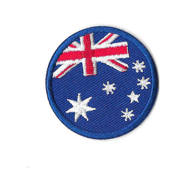 AUSTRALIA ROUND FLAG IRON ON / SEW ON PATCH Embroidered Badge AUSTRALIAN PT227