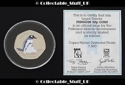 2017 Falkland Islands Gentoo Penguin 50p Coin + COA Limited Edition Fifty Pence