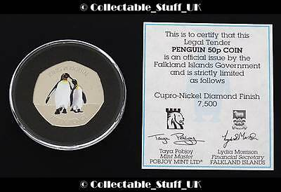 2017 Falkland Islands King Penguin 50p Coin + COA Limited Edition Fifty Pence