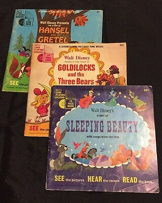 Lot Of 3 Walt Disney Books With Records!