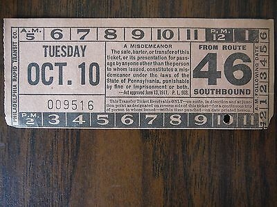 PHILADELPHIA RAPID TRANSIT Transfer Oct 10 1933  • $5.95