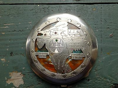 Vintage SILVER Etched INDIA COMPACT - Rubies and Emerald - Abalone