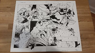 OLIVER COIPEL Original Art Page THE MIGHTY THOR #2 Pages 4 & 5 SPLASH!