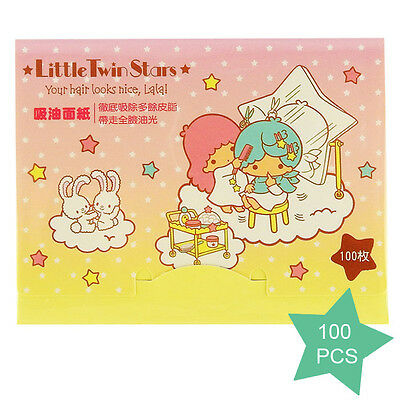 [SANRIO LITTLE TWIN STARS] Oil Absorbent Paper YELLOW Beauty 100pcs NEW