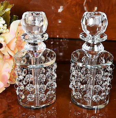 Pair of Crystal Cut Candle Stick Holder with Gift Box Wedding Xmas Birthday Gift