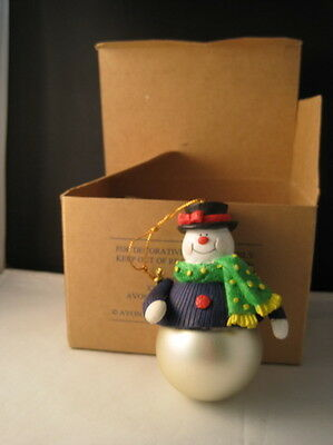 NIB Avon Boxed Santa and Company Snowman Ornament
